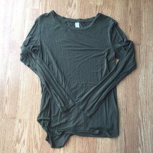 Old Navy • Green Long Sleeve Luxe Scoop Neck Top